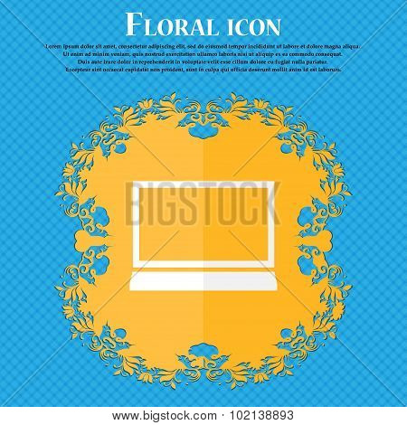 Laptop Sign Icon. Notebook Pc Symbol. Floral Flat Design On A Blue Abstract Background With Place Fo