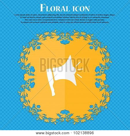 Megaphone Soon Icon. Loudspeaker Symbol. Floral Flat Design On A Blue Abstract Background With Place