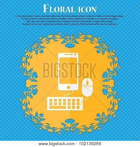 Smartphone Widescreen Monitor, Keyboard, Mouse Sign Icon. Floral Flat Design On A Blue Abstract Back