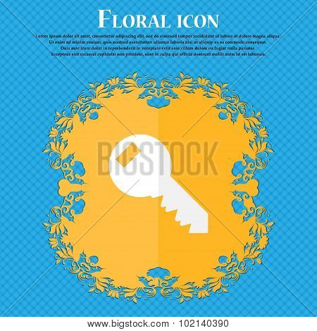 Key Sign Icon. Unlock Tool Symbol.. Floral Flat Design On A Blue Abstract Background With Place For