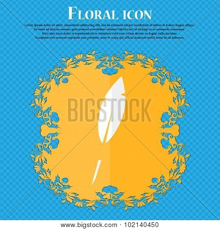 Feather Sign Icon. Retro Pen Symbo. Floral Flat Design On A Blue Abstract Background With Place For