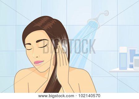 Hair treatment in bathroom