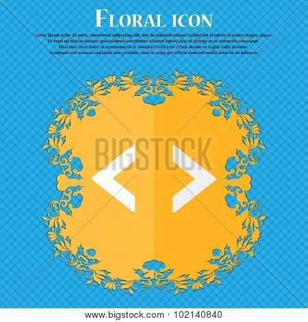Code Sign Icon. Programmer Symbol. Floral Flat Design On A Blue Abstract Background With Place For Y