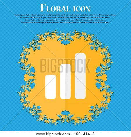 Growth And Development Concept. Graph Of Rate . Floral Flat Design On A Blue Abstract Background Wit