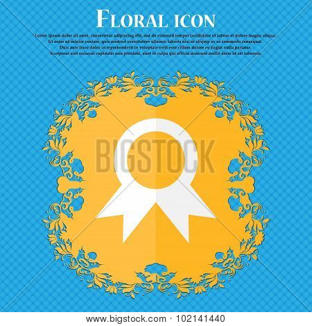 Award, Prize For Winner . Floral Flat Design On A Blue Abstract Background With Place For Your Text.