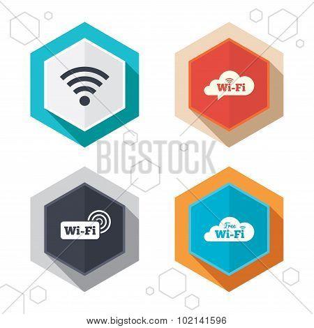 Wifi Wireless Network icons. Wi-fi speech bubble