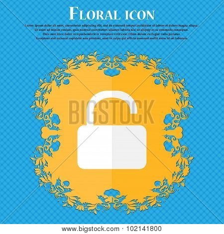 Open Padlock Icon. Floral Flat Design On A Blue Abstract Background With Place For Your Text. Vector