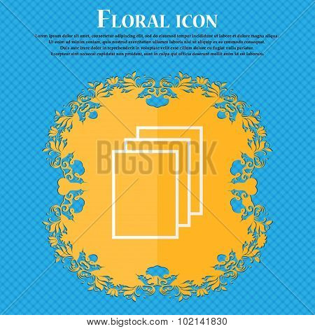 Copy File Sign Icon. Duplicate Document Symbol. Floral Flat Design On A Blue Abstract Background Wit