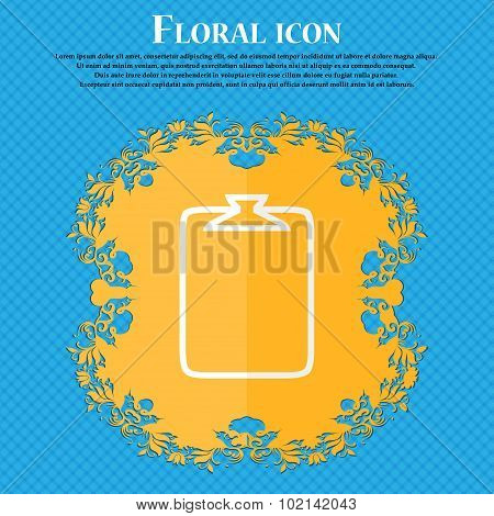 File Annex Icon. Paper Clip Symbol. Attach Sign. Floral Flat Design On A Blue Abstract Background Wi