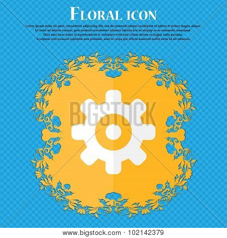 Cog Settings, Cogwheel Gear Mechanism . Floral Flat Design On A Blue Abstract Background With Place
