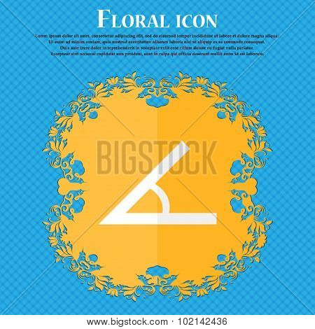 Angle 45 Degrees Icon Sign. Floral Flat Design On A Blue Abstract Background With Place For Your Tex