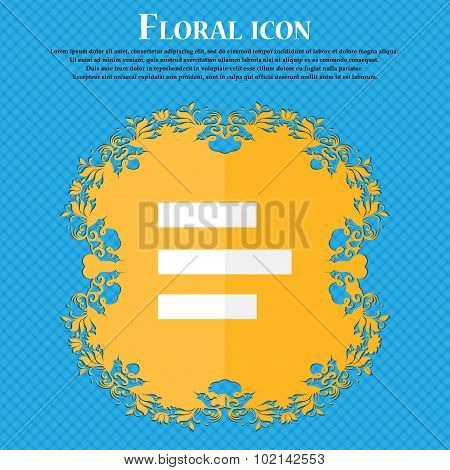 Left-aligned Icon Sign. Floral Flat Design On A Blue Abstract Background With Place For Your Text. V