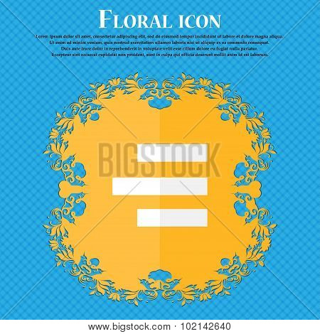 Right-aligned Icon Sign. Floral Flat Design On A Blue Abstract Background With Place For Your Text.