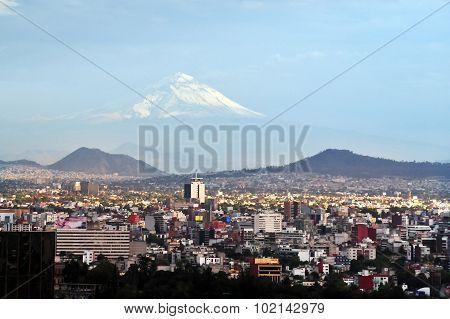 A view of Popocatepetl Volcano Mountain Behind Mexico City, Mexico