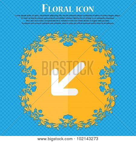 Turn To Full Screen. Floral Flat Design On A Blue Abstract Background With Place For Your Text. Vect