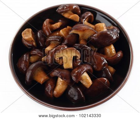 Shiitake Fresh Mushrooms Fried.