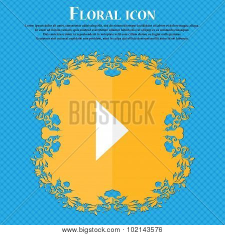 Play Button . Floral Flat Design On A Blue Abstract Background With Place For Your Text. Vector