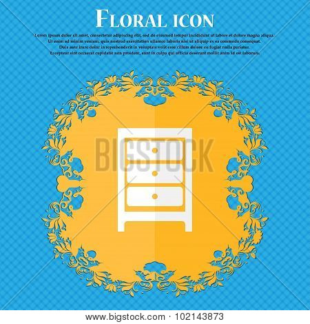 Nightstand Icon Sign. Floral Flat Design On A Blue Abstract Background With Place For Your Text. Vec