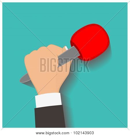Hand holding a microphone, press conference, vector illustration