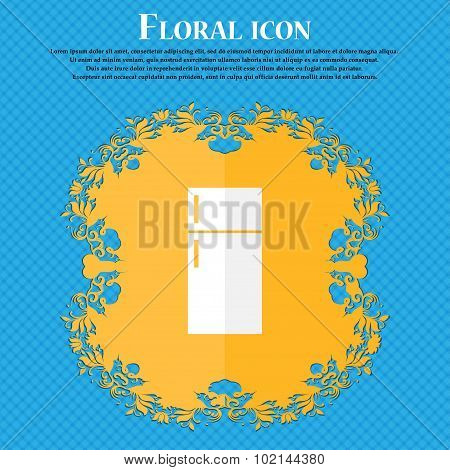 Refrigerator Icon Sign. Floral Flat Design On A Blue Abstract Background With Place For Your Text. V