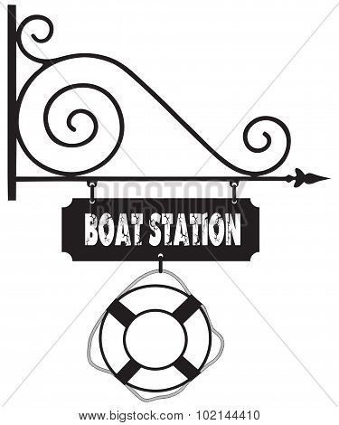 Road Sign Boat Station