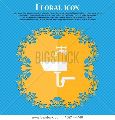 Washbasin Icon Sign. Floral Flat Design On A Blue Abstract Background With Place For Your Text. Vect