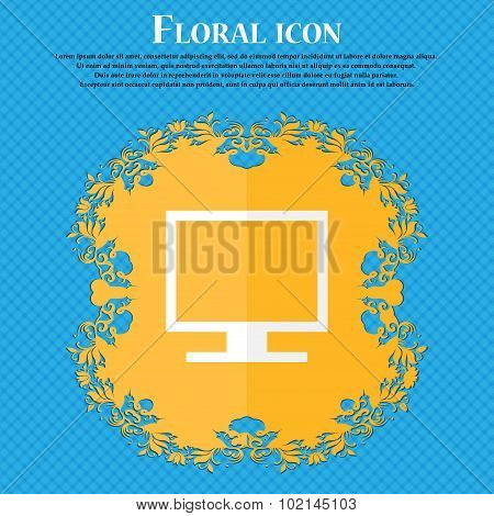 Computer Widescreen Monitor . Floral Flat Design On A Blue Abstract Background With Place For Your T
