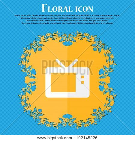 Retro Tv Mode . Floral Flat Design On A Blue Abstract Background With Place For Your Text. Vector