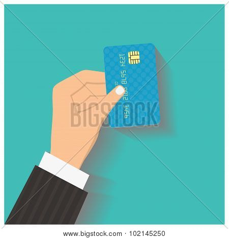 Flat design style illustration. Hand hold credit card to pay. Ve