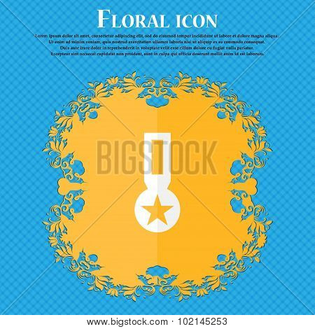 Award, Medal Of Honor Icon Sign. Floral Flat Design On A Blue Abstract Background With Place For You