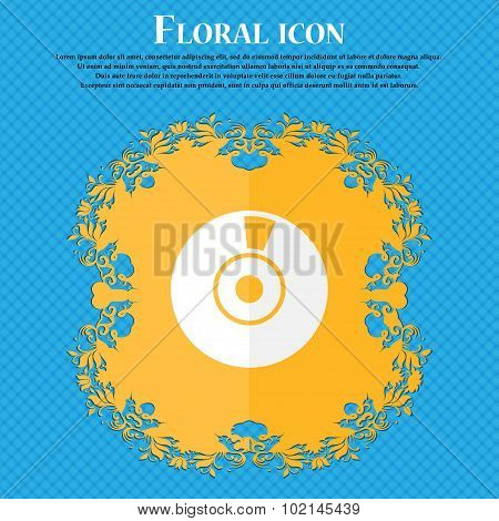 Cd Or Dvd Icon Sign. Floral Flat Design On A Blue Abstract Background With Place For Your Text. Vect