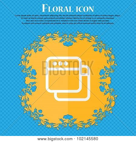 Simple Browser Window . Floral Flat Design On A Blue Abstract Background With Place For Your Text. V