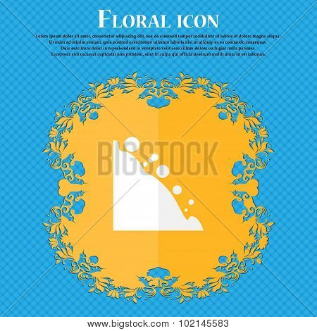 Rockfall Icon. Floral Flat Design On A Blue Abstract Background With Place For Your Text. Vector