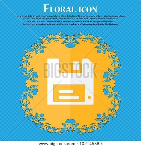 Floppy . Floral Flat Design On A Blue Abstract Background With Place For Your Text. Vector
