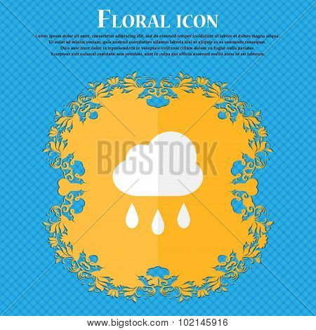 Weather Rain . Floral Flat Design On A Blue Abstract Background With Place For Your Text. Vector
