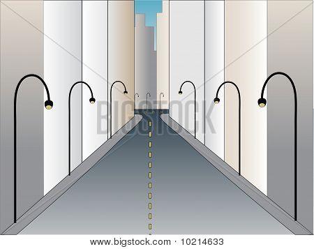 Urban Street At Angle Going Into Horizon