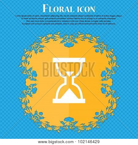 Hourglass, Sand Timer . Floral Flat Design On A Blue Abstract Background With Place For Your Text. V