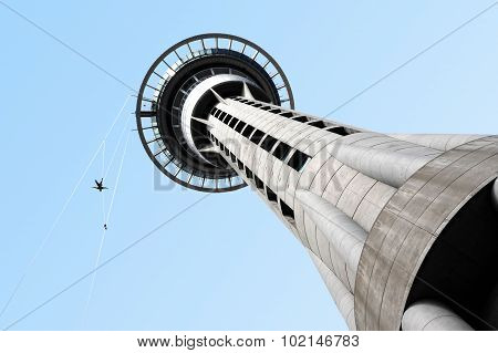 AUCKLAND, NZ - FEB 27: Person jumps from Auckland sky tower building on Feb 27 2009. SkyJump is one of New Zealand's most thrilling tourist attractions in Auckland, New Zealand.
