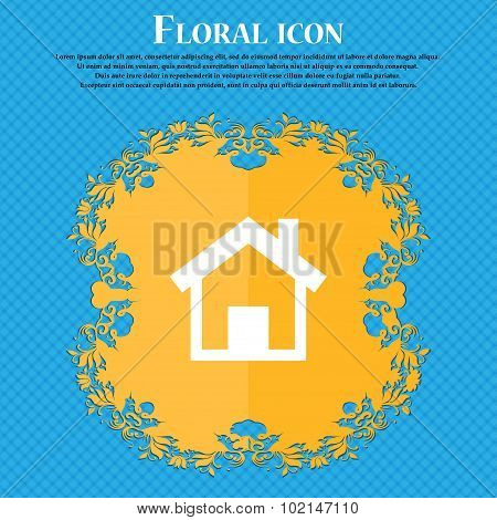 Home, Main Page . Floral Flat Design On A Blue Abstract Background With Place For Your Text. Vector