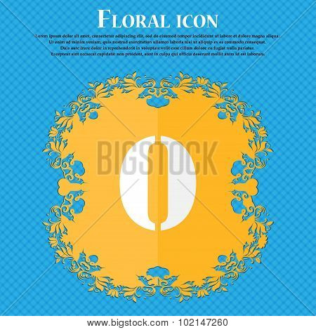 Number Zero Icon Sign. Floral Flat Design On A Blue Abstract Background With Place For Your Text. Ve