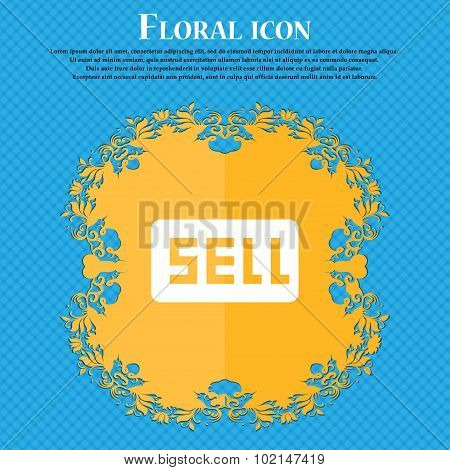Sell, Contributor Earnings . Floral Flat Design On A Blue Abstract Background With Place For Your Te
