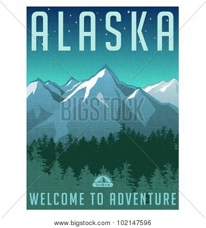 Retro style travel poster or sticker. United States, Alaska mountain landscape.