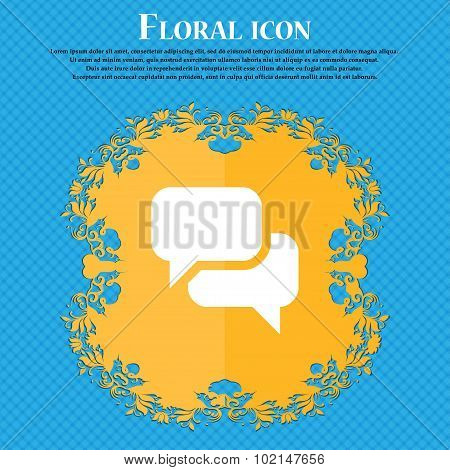 Speech Bubble, Think Cloud . Floral Flat Design On A Blue Abstract Background With Place For Your Te
