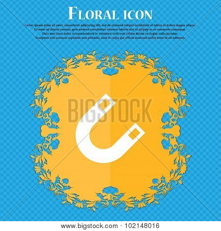 Magnet, Horseshoe . Floral Flat Design On A Blue Abstract Background With Place For Your Text. Vecto