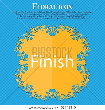 Finish Sign Icon. Power Button. Floral Flat Design On A Blue Abstract Background With Place For Your