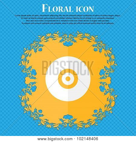 Cd Or Dvd . Floral Flat Design On A Blue Abstract Background With Place For Your Text. Vector