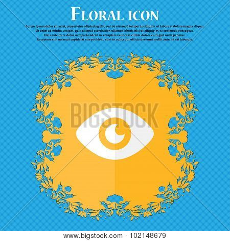 Eye, Publish Content . Floral Flat Design On A Blue Abstract Background With Place For Your Text. Ve