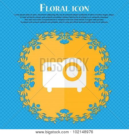 Projector . Floral Flat Design On A Blue Abstract Background With Place For Your Text. Vector