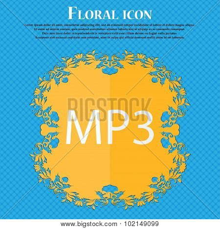Mp3 Music Format Sign Icon. Musical Symbol. Floral Flat Design On A Blue Abstract Background With Pl