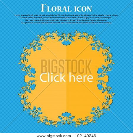Click Here Sign Icon. Press Button. Floral Flat Design On A Blue Abstract Background With Place For